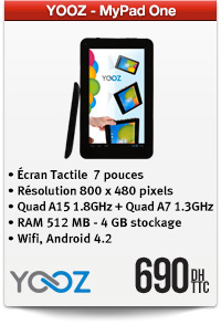 Yooz MyPad One Black, 4G, Wifi,sous Android JELLY BEAN 4.2